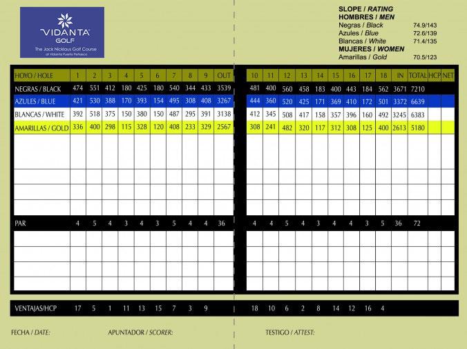 golf mayan palace Score Card